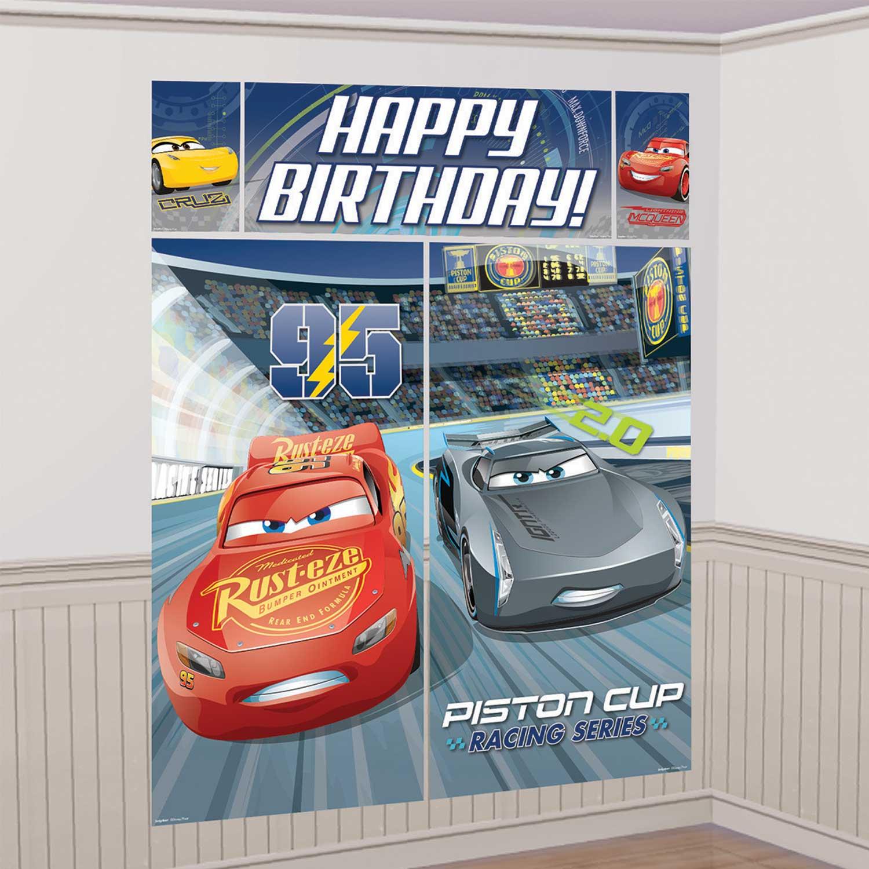 Disney Cars Happy Birthday Scene Setter Banner Wall Decoration Cars