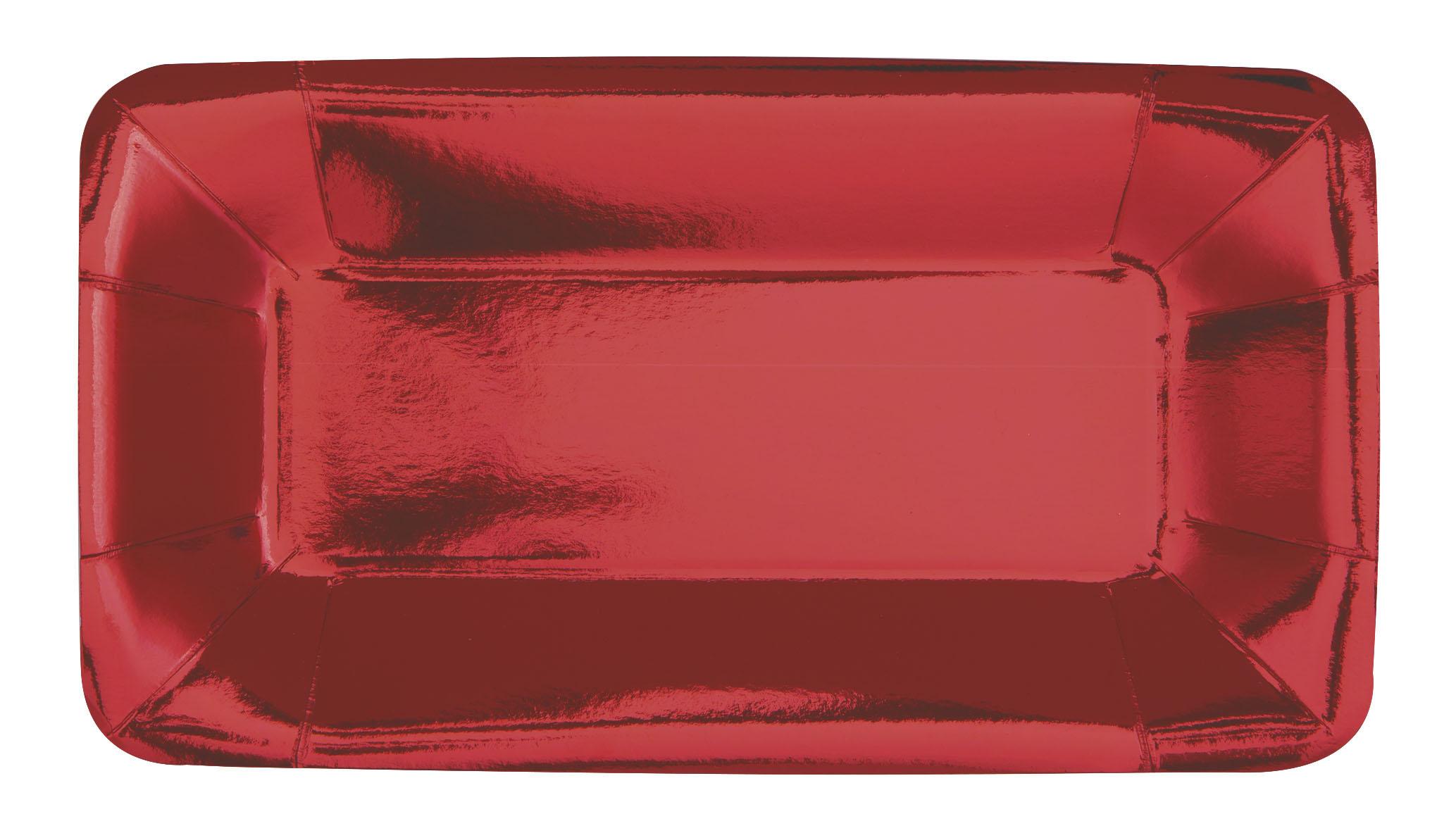 """Rojo 9/"""" X 5/"""" platos de Papel de Aluminio Fiesta Rectangular entremeses X 8"""