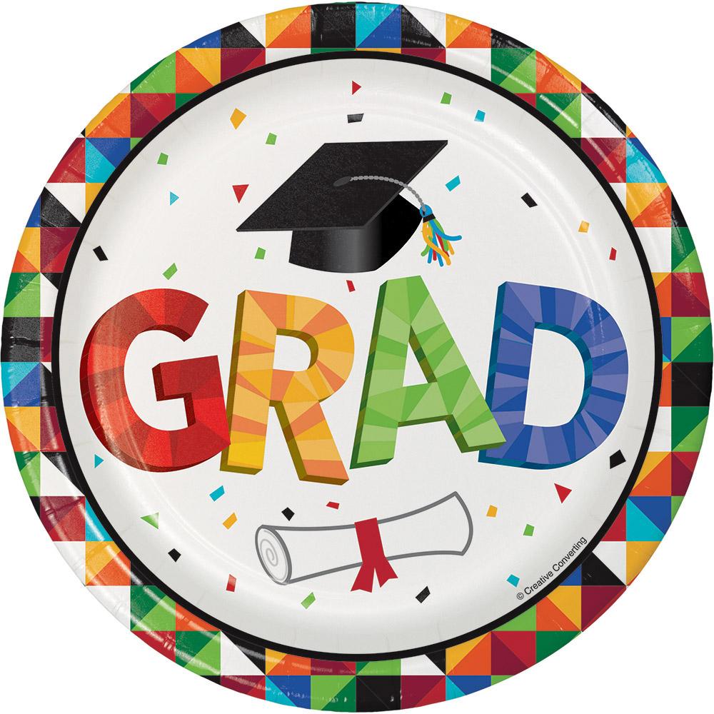 8 x Colourful Graduation Paper Party Plates 18cm Graduation Party Tableware  sc 1 st  eBay & 8 x Colourful Graduation Paper Party Plates 18cm Graduation Party ...