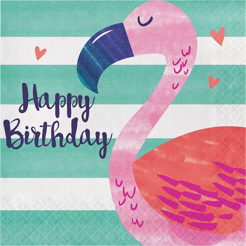 16 X Pink Flamingo Happy Birthday Napkins Hawaiian Luau
