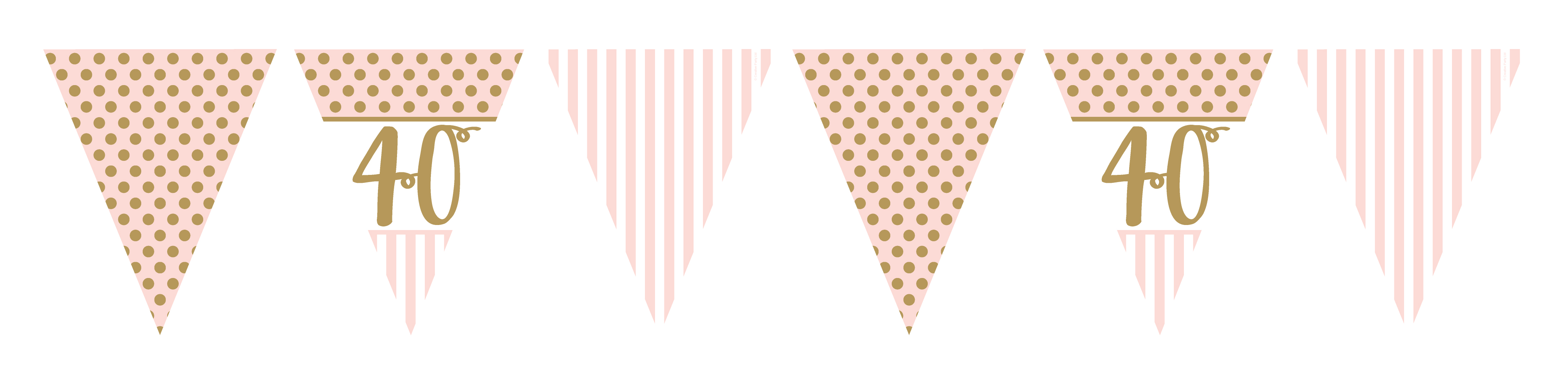 40th Birthday Pennant Flag Banner Pink Gold Party Decorations Age 40 Bunting
