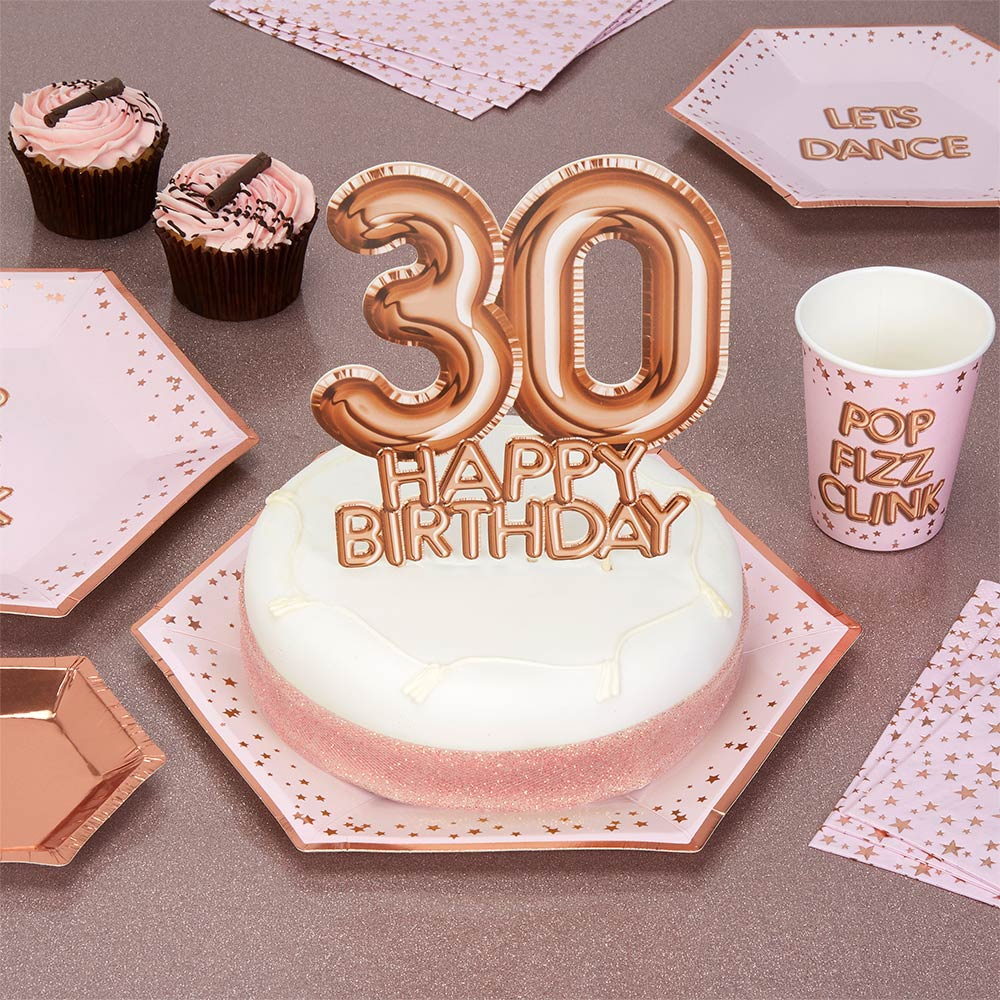 Luxury Rose Gold 30th Birthday Cake Topper Decoration Glitz Glamour Age 30