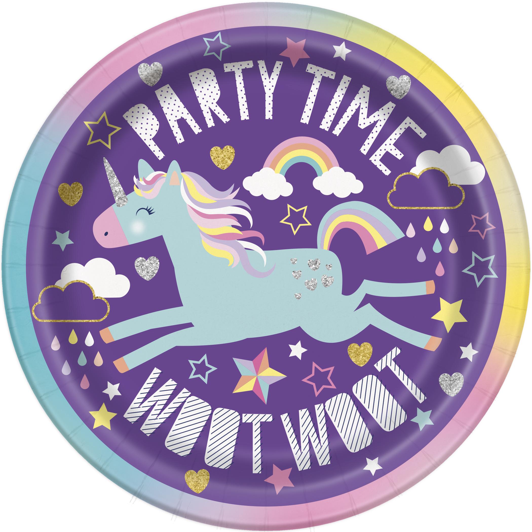 8 X Party Time Unicorn 18cm Papierteller Einhorn Geschirr Madchen
