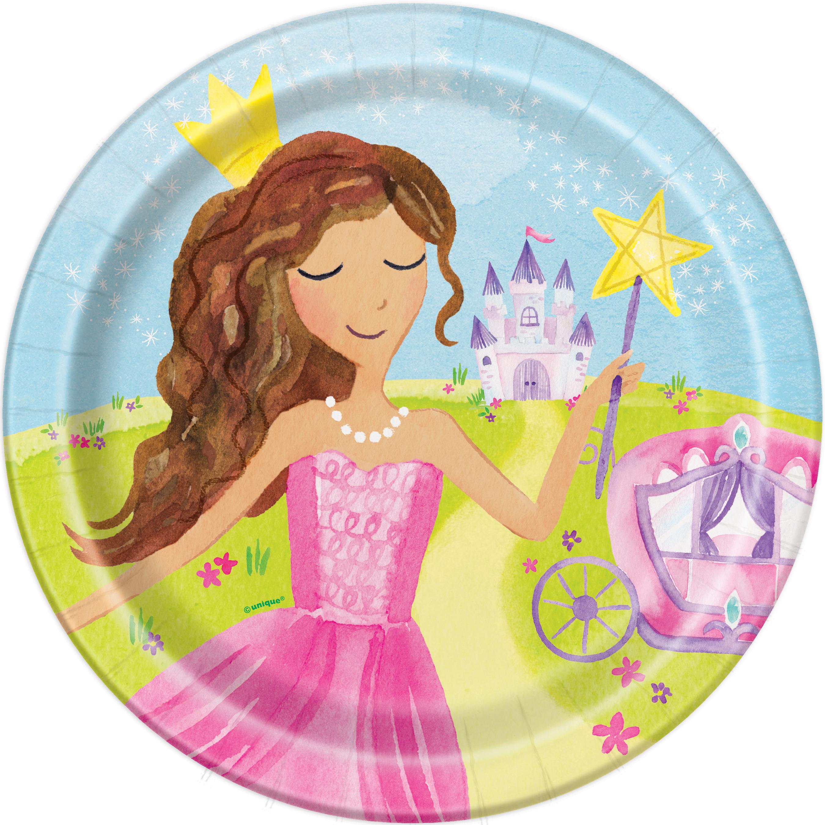 8 x Magical Pink Princess u0026 Cinderella Carriage Paper Party Plates Girl Birthday  sc 1 st  eBay & 8 x Magical Pink Princess u0026 Cinderella Carriage Paper Party Plates ...