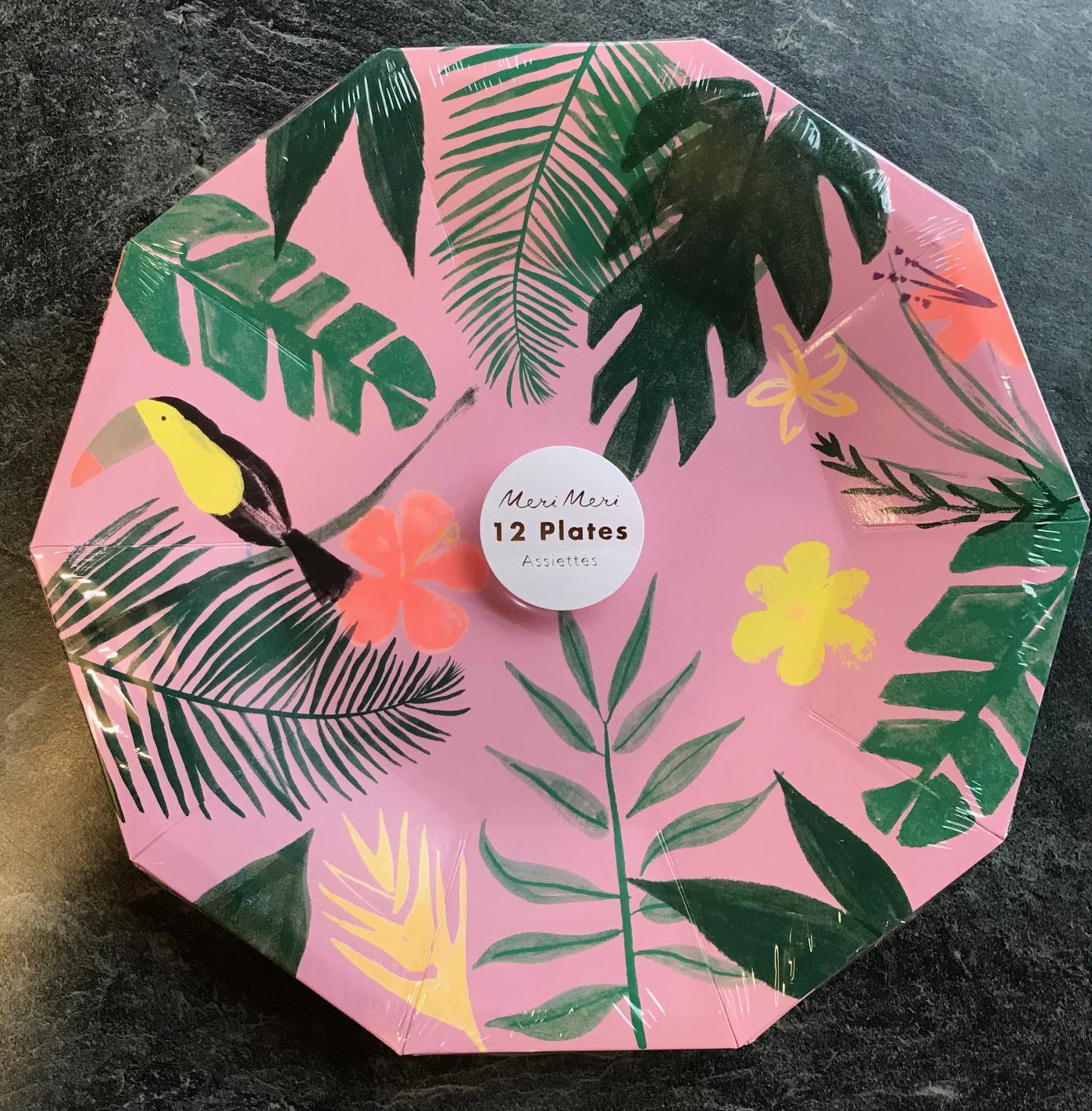 12 x Luxury Pink Tropical Paper Plates Tropical Bird Toucan Hawaiian Party 23cm & 12 x Luxury Pink Tropical Paper Plates Tropical Bird Toucan Hawaiian ...