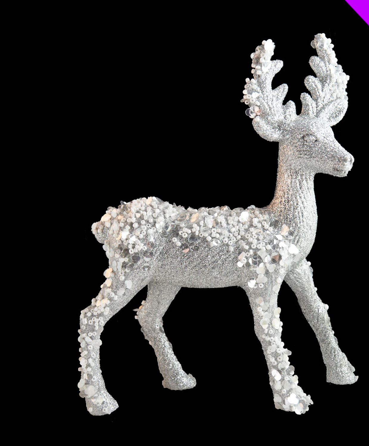CHEAP Silver 3D Glitter Standing Reindeer Christmas Decorations 21cm BARGAIN