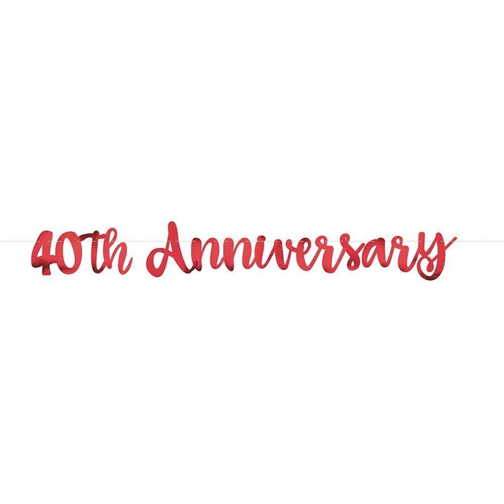 Détails Sur 40eme Anniversaire De Mariage Bannière Décoration Rubis Marriage 40 Years Fête