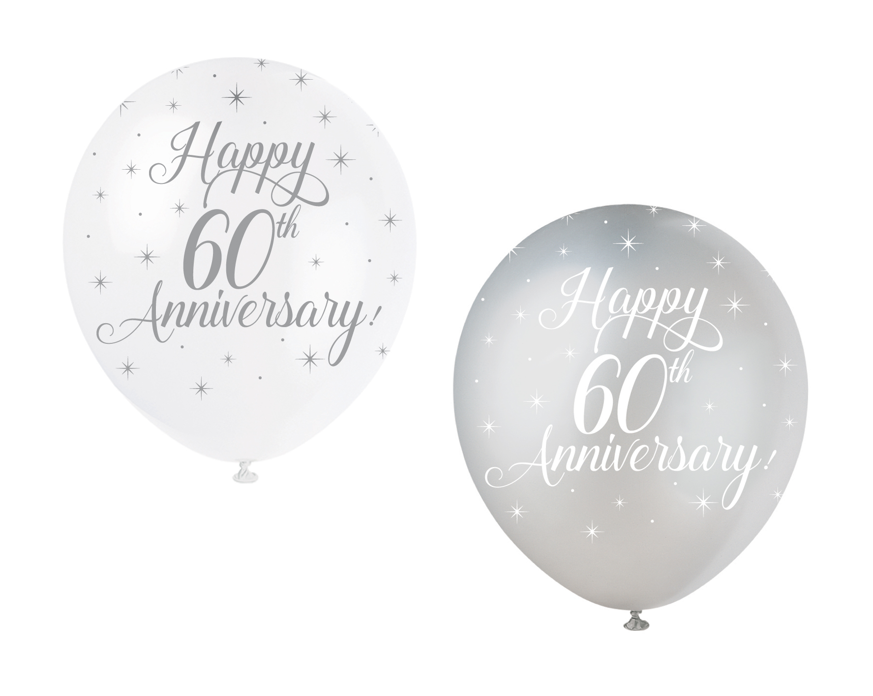 5 Happy 60th Anniversary Balloon Diamond Wedding Party Decoration ...