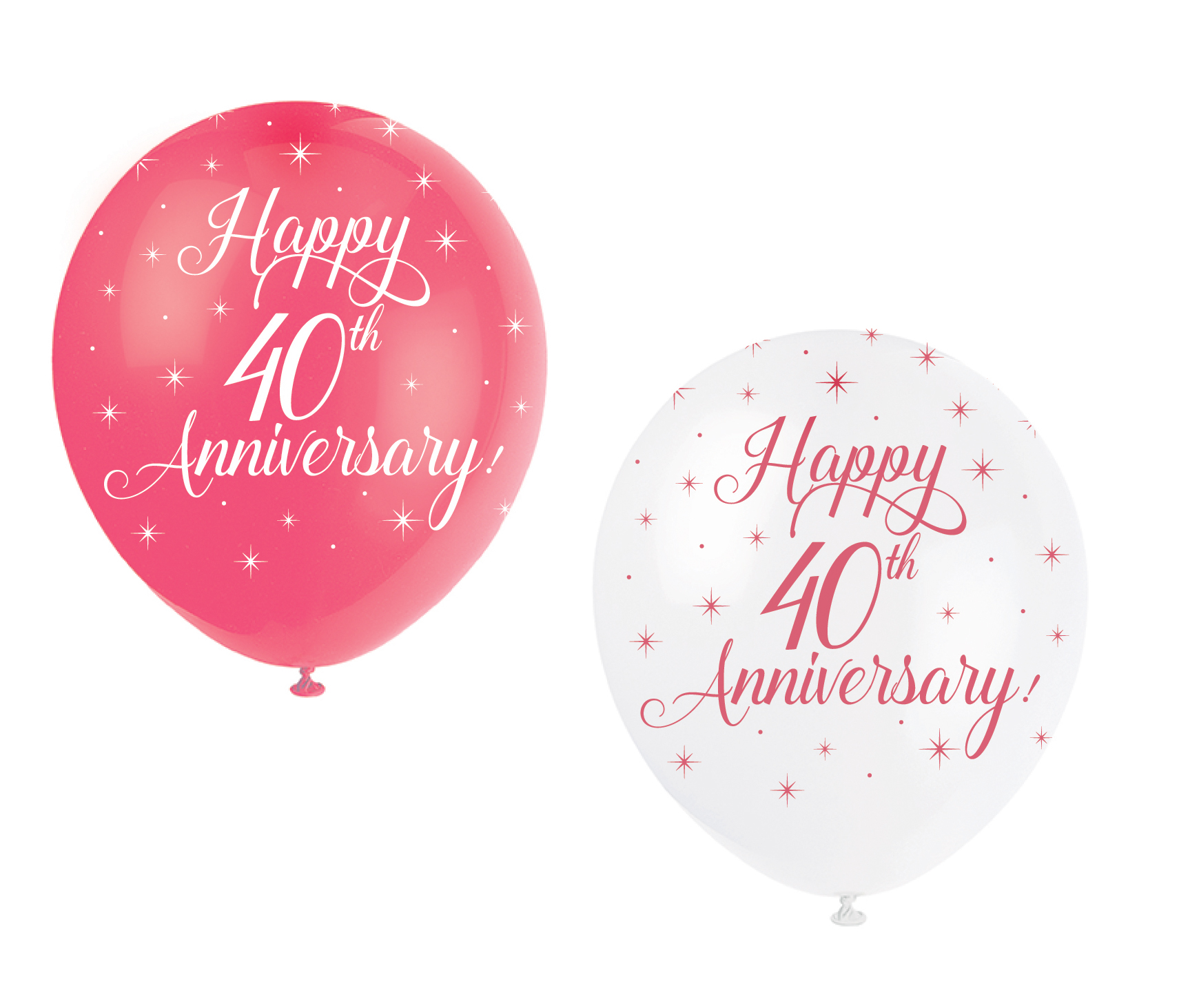 5 x Happy 40th Anniversary Balloon Ruby Wedding Party Decoration Red ...