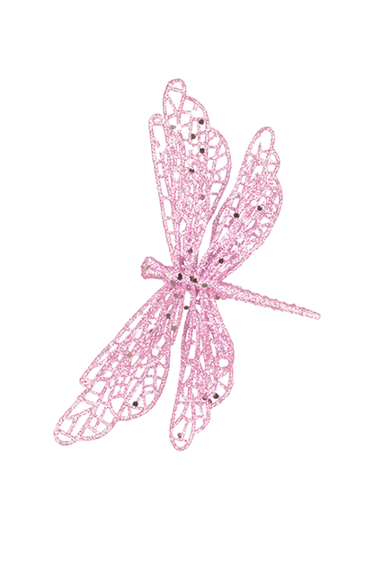 3 Pink Clip On Dragonfly Decoration Sparkle Finish Wedding