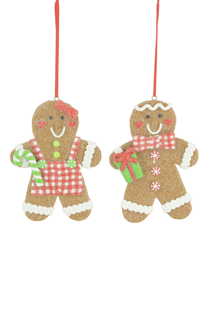Set of 2 Clay Gingerbread Christmas Tree Hanging Decorations Girl & Boy 11cm