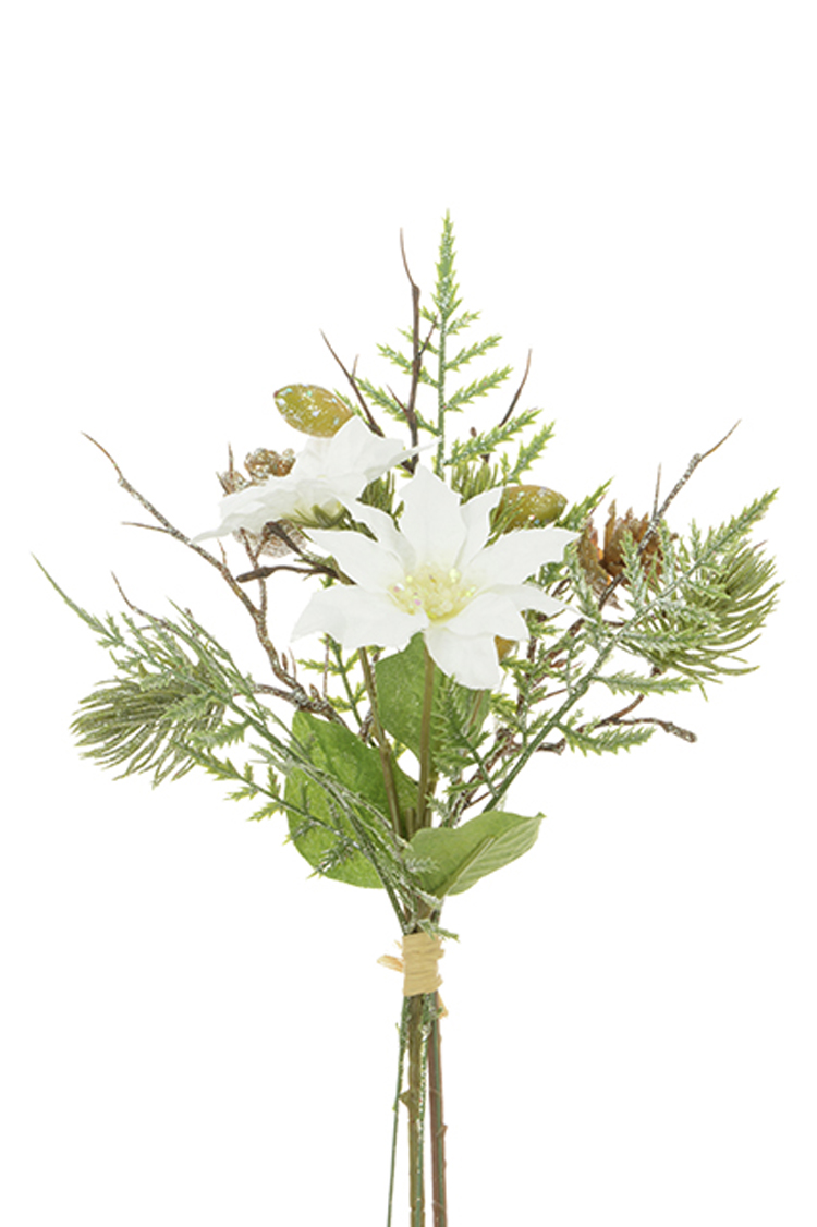 3 White Poinsettia & Pine Floral Bundle Bush Spray Christmas Wedding Decorations