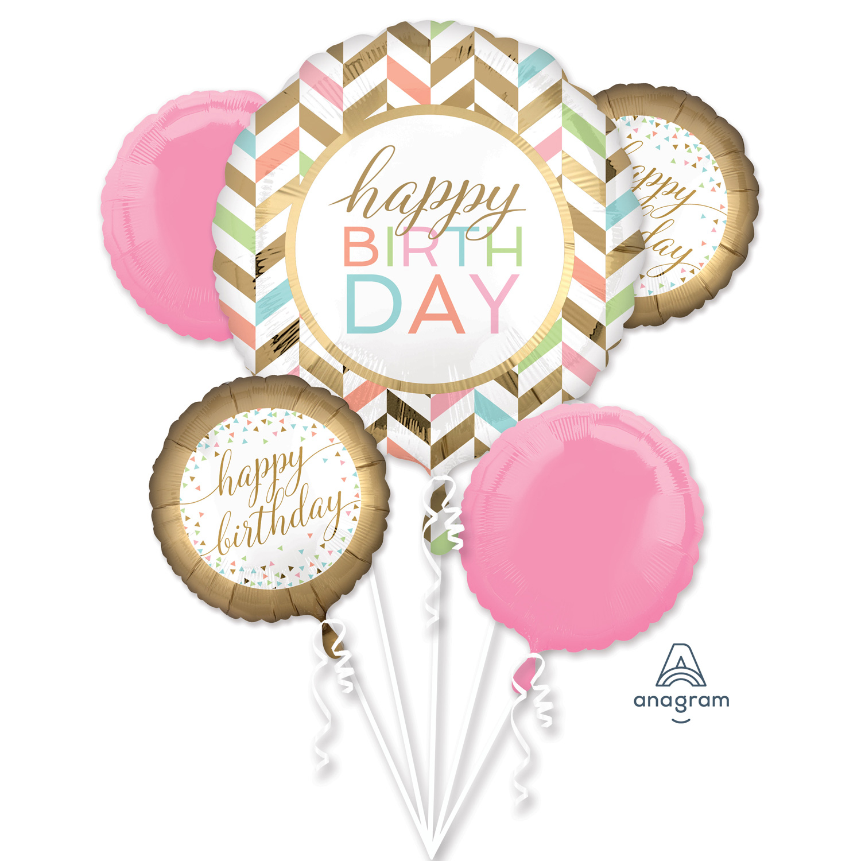 Détails Sur Joli Pastel Doré Joyeux Anniversaire Ballons Métalliques Bouquet