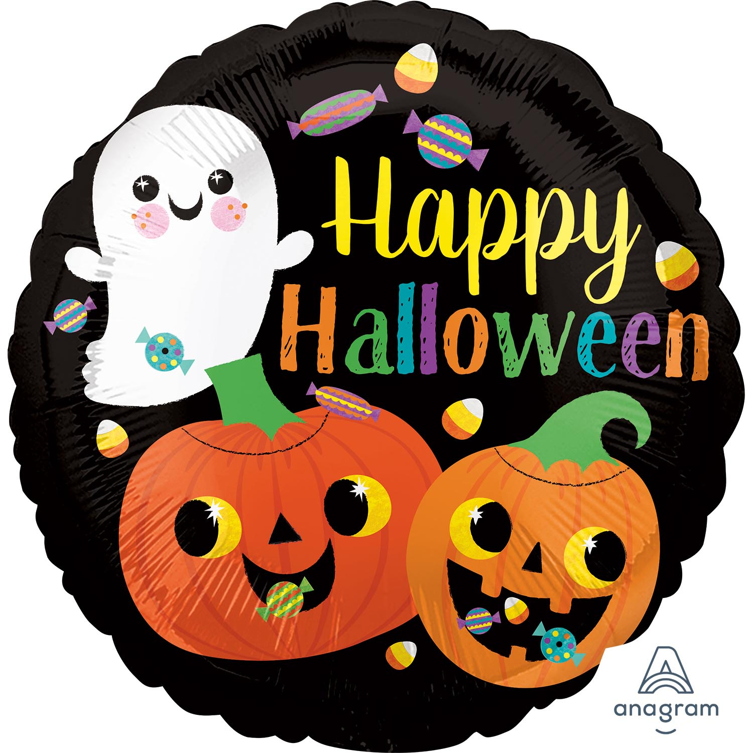 Happy Halloween Cute Childs Foil Helium Kids Party Black ...