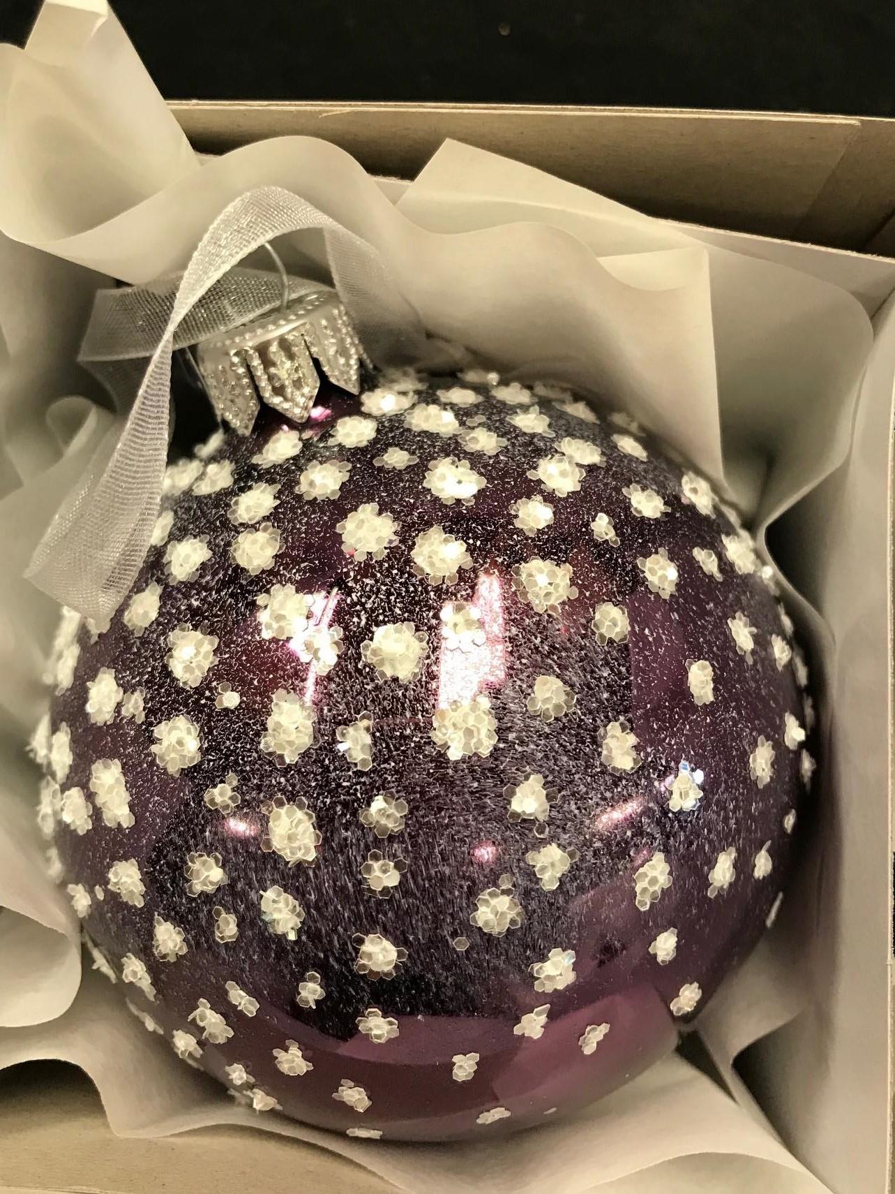 6 x Glass Purple Plum Christmas Tree Baubles Decorations Sparkle Finish 8cm