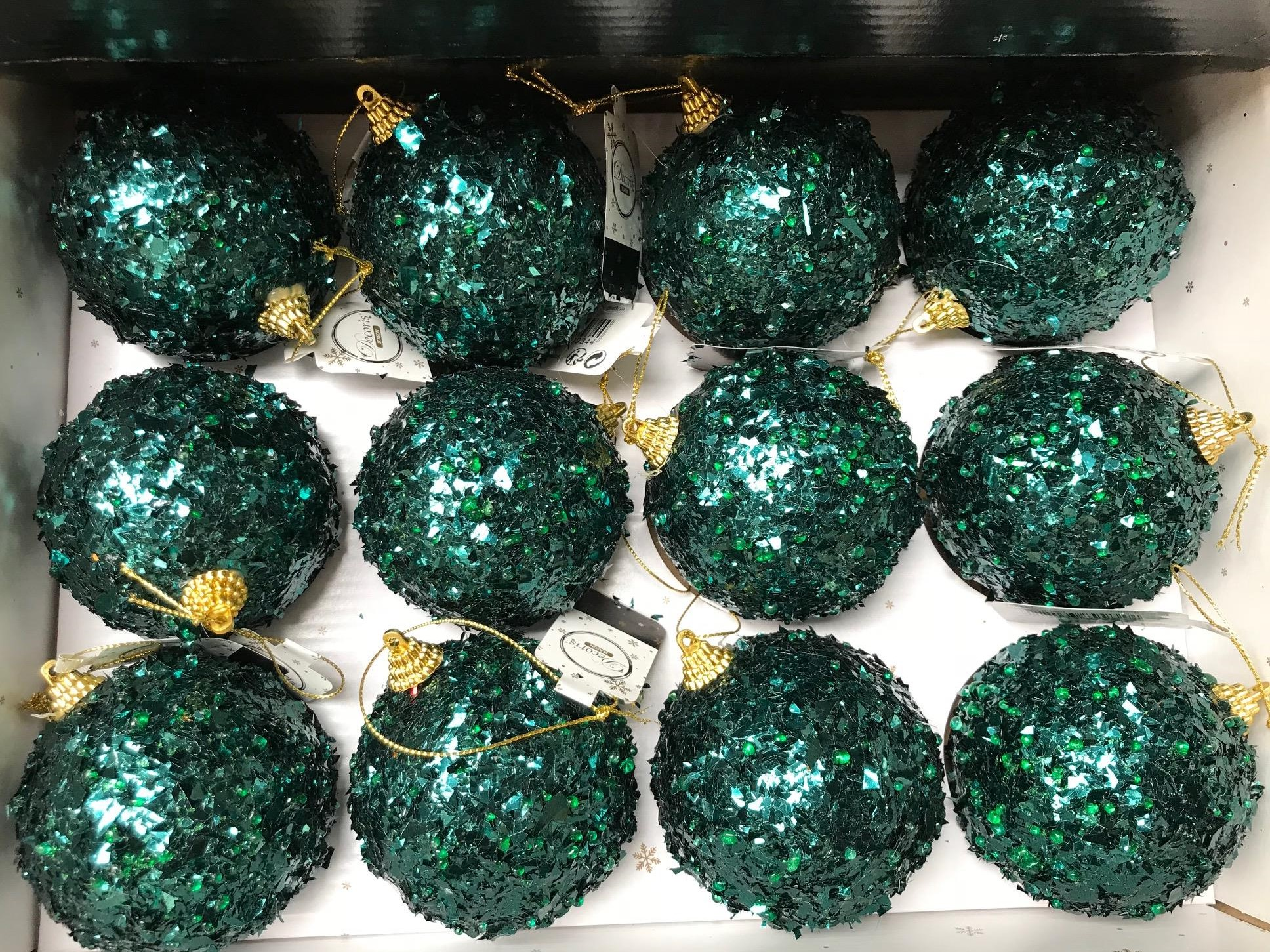 12 X Large Emerald Green Sparkle Hanging Christmas Tree