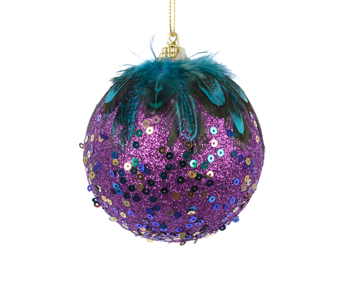 12 Purple & Gold Feather & Sequin Decorated Christmas Tree