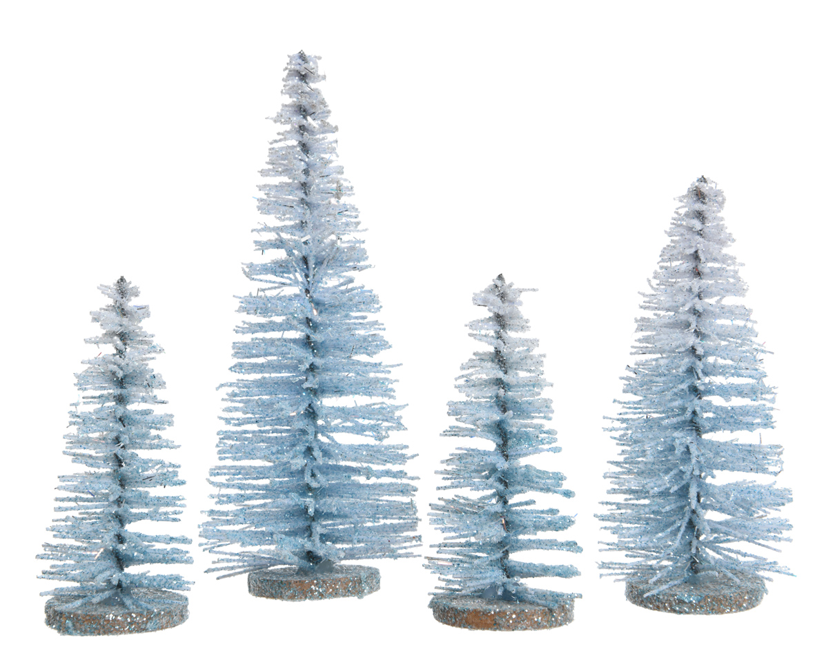 4 x Blue Glitter Standing Christmas Tree Table Decorations Christmas Gift