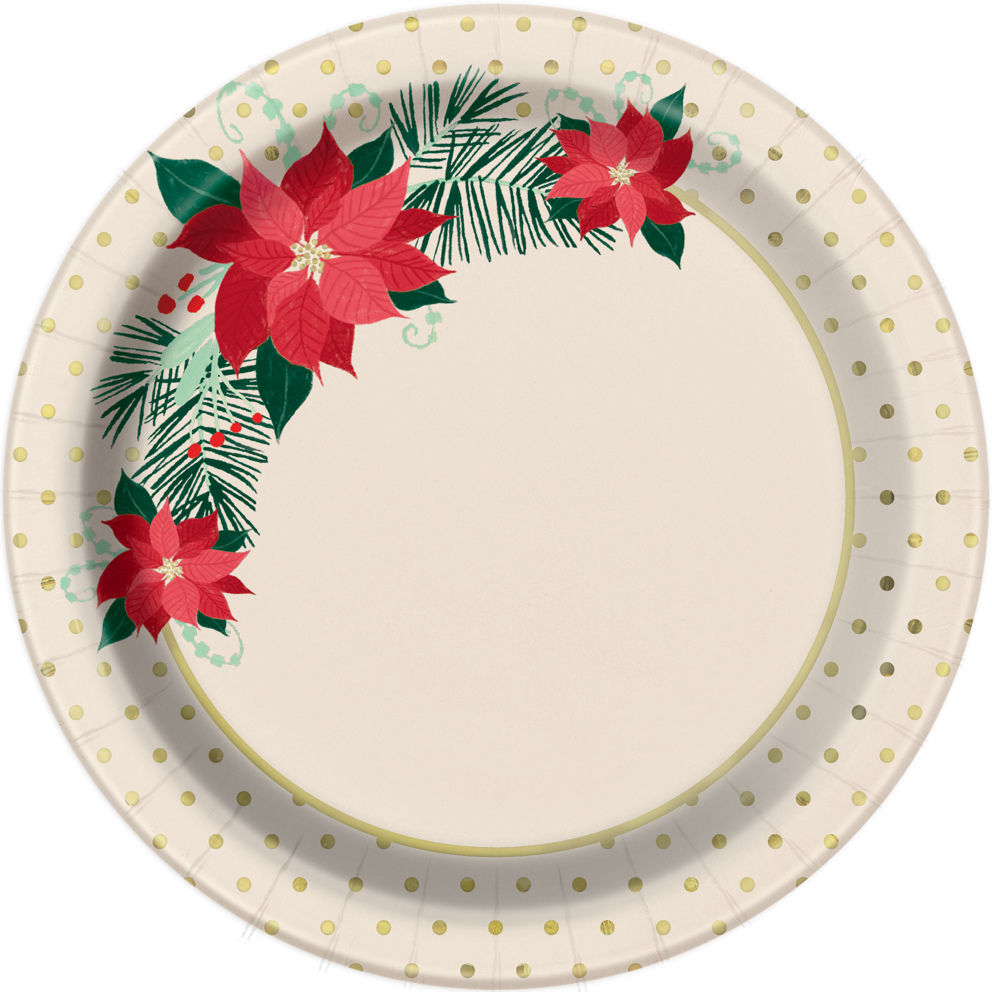 Christmas Paper Plates.Details About 8 Red Gold Poinsettia Traditional Christmas Paper Plates 18cm Gold Foil Finish