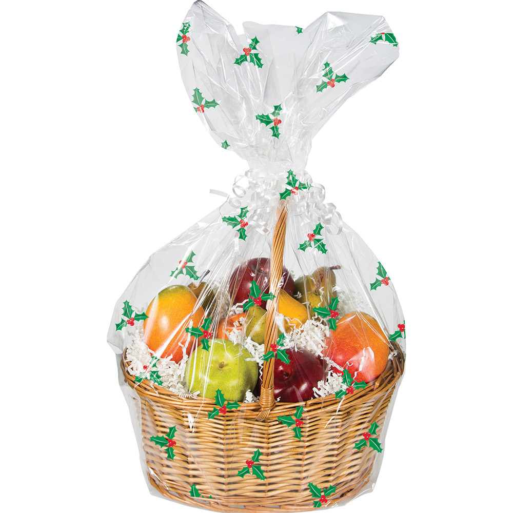 Details About Christmas Clear Holly Hamper Wrap Cellophane Basket Gift Wrap Large Cello Bag