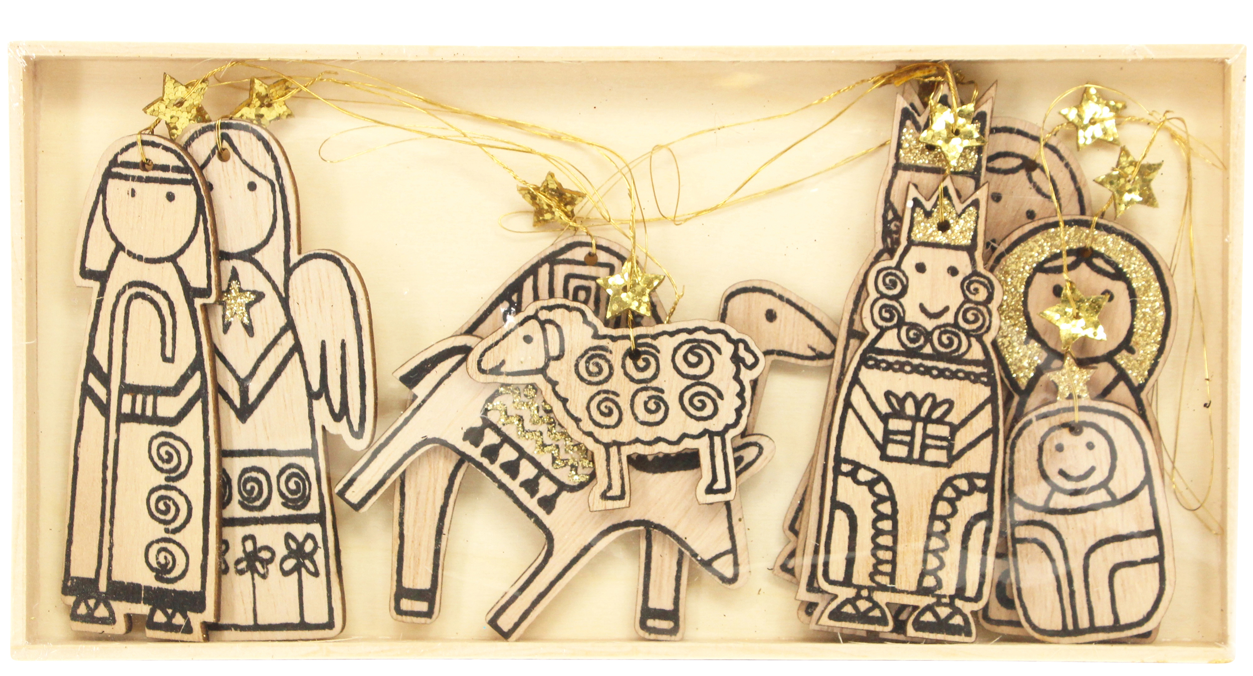 Gisela Graham Natural Wooden Nativity Hanging Christmas