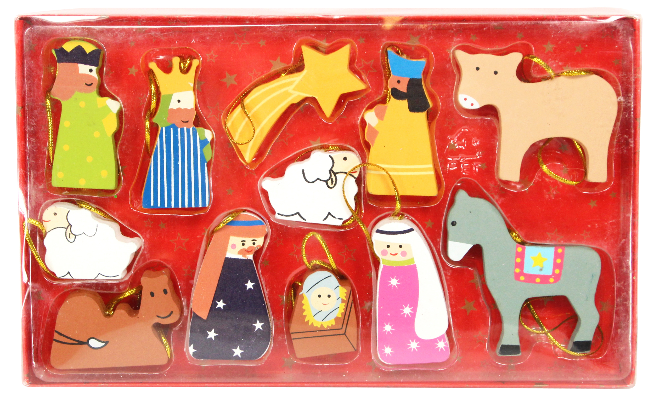 Gisela Graham Coloured Wooden Nativity Hanging Christmas