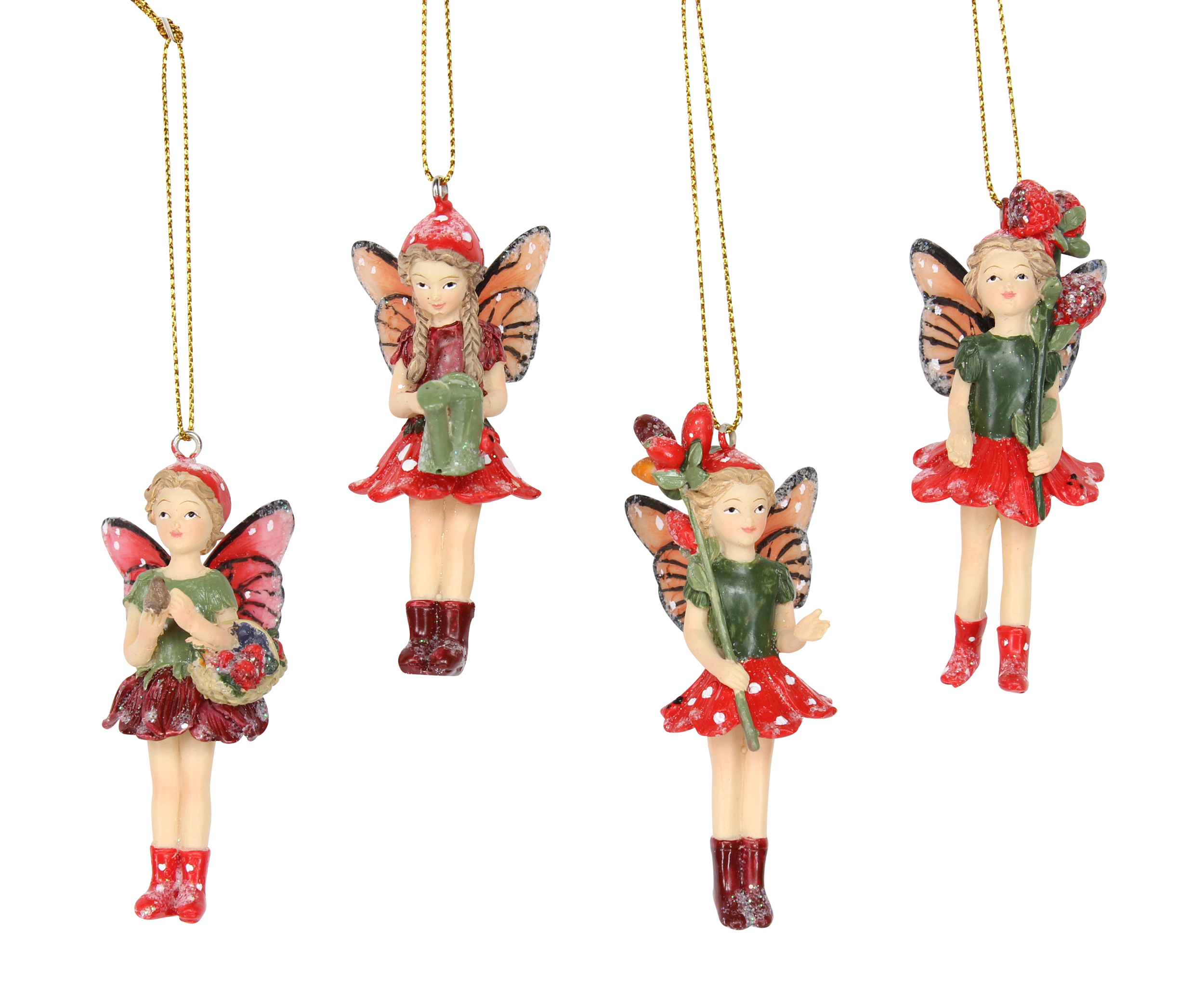 4 x gisela graham assorted toadstool fairy hanging christmas tree decorations