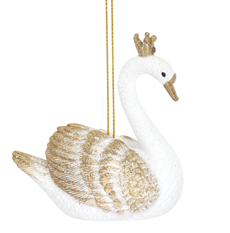 Swan With Crown Gund Princess Large Gisela Graham White Gold Hanging Christmas Tree Decoration 2400x2435
