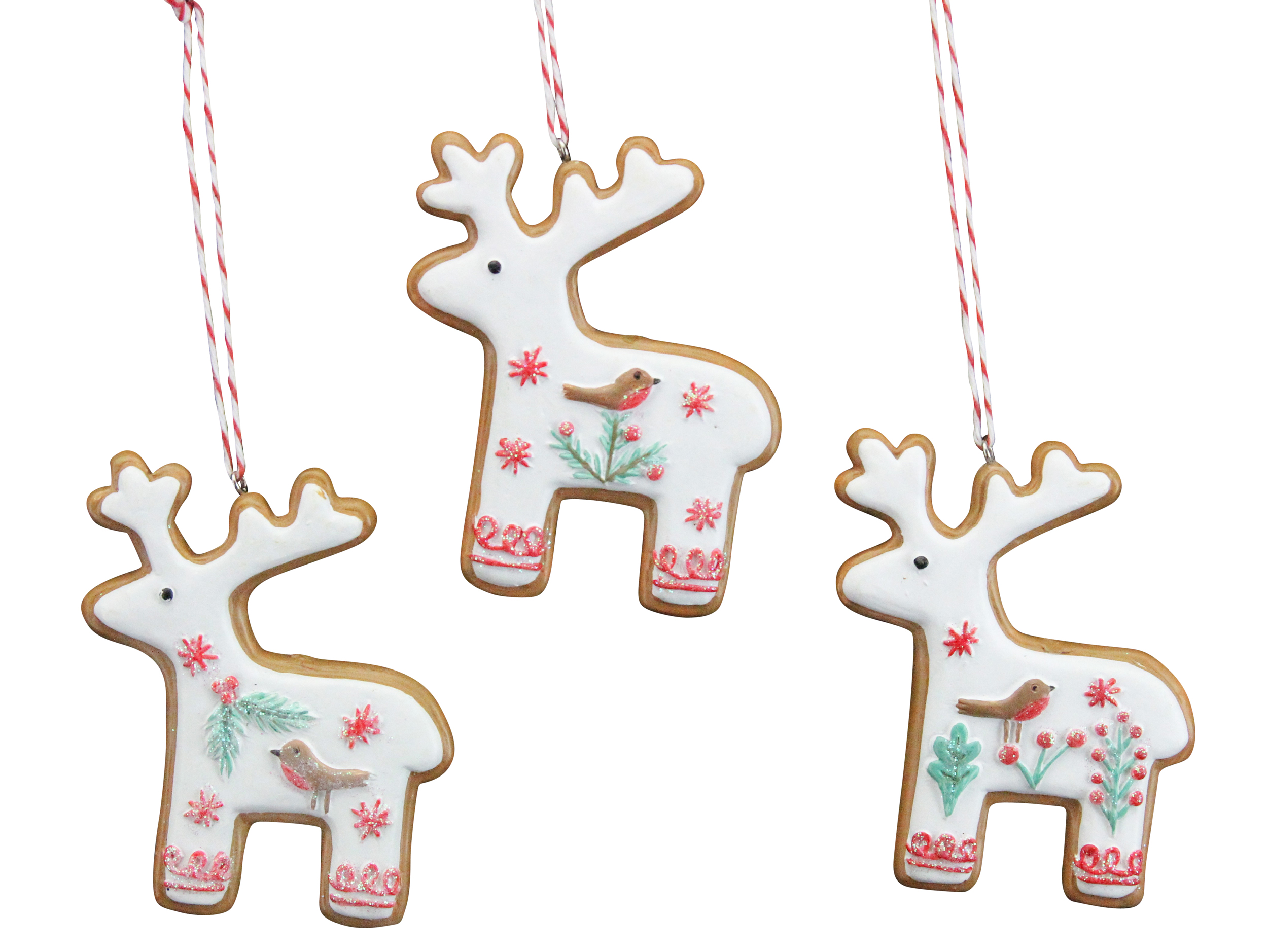 Details About 3 X Gisela Graham Iced Gingerbread Reindeer Hanging Christmas Tree Decorations