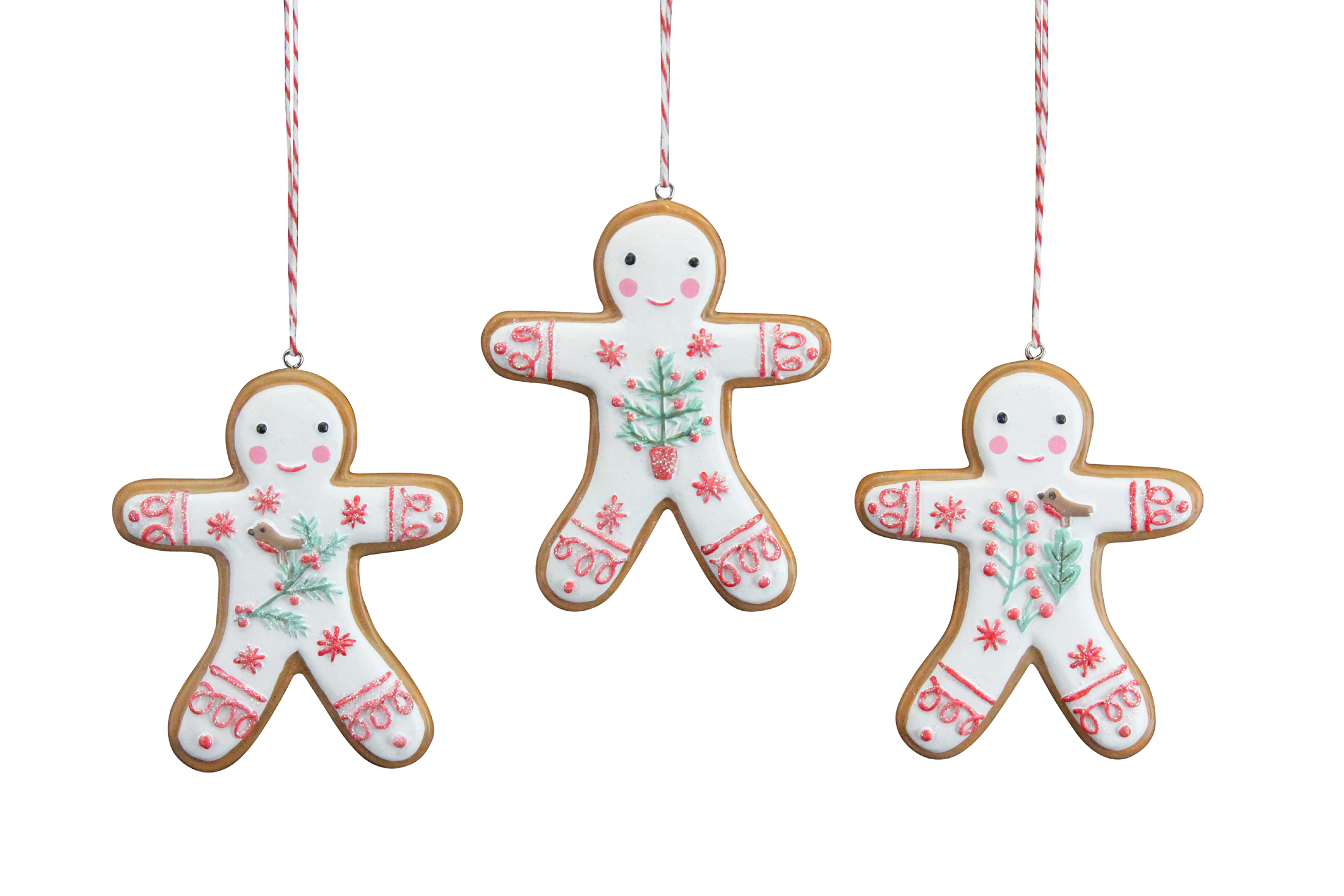 3 X Gisela Graham 'Iced' Gingerbread Men Hanging Christmas