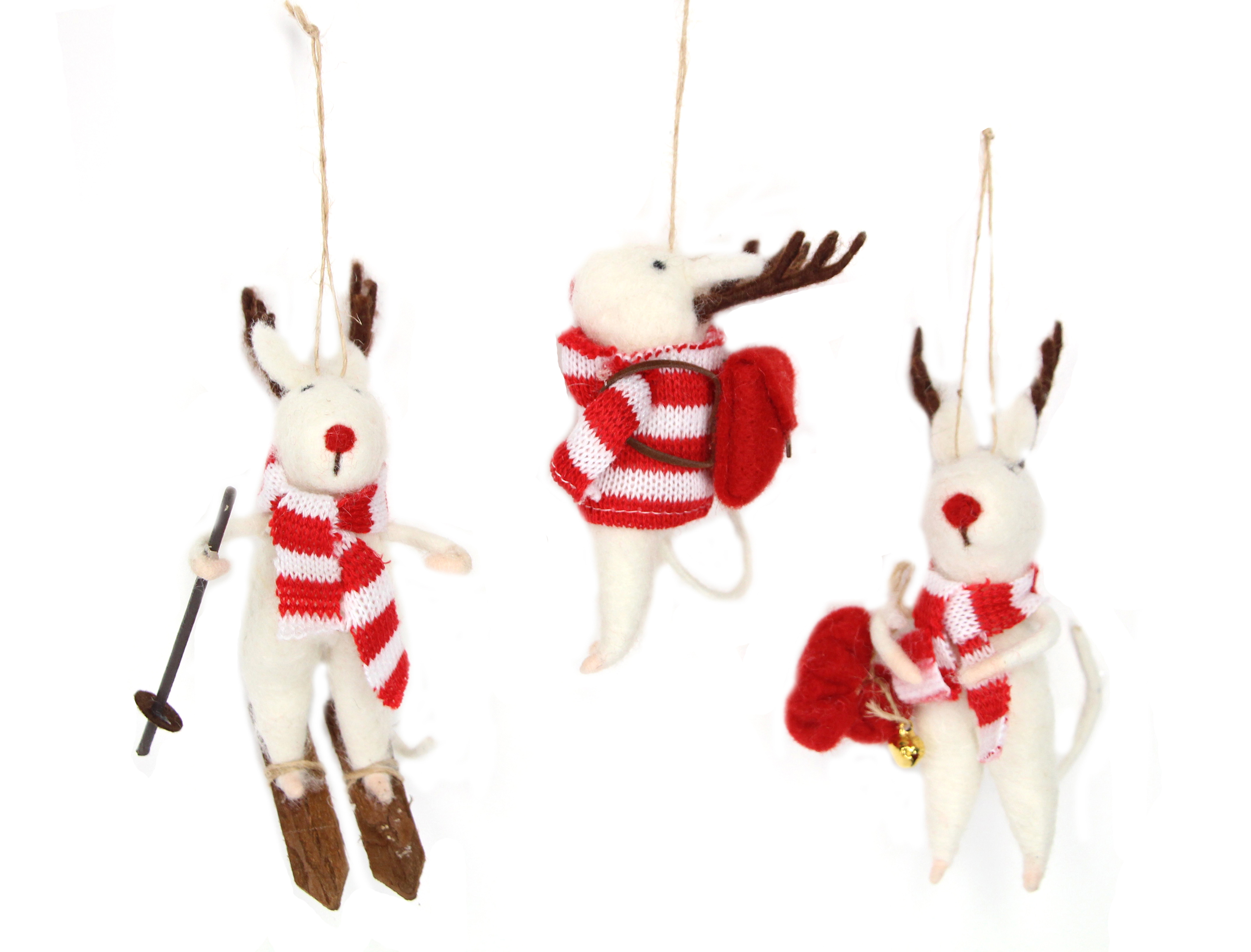 3 Assorted Gisela Graham Red & White Reindeer Hanging