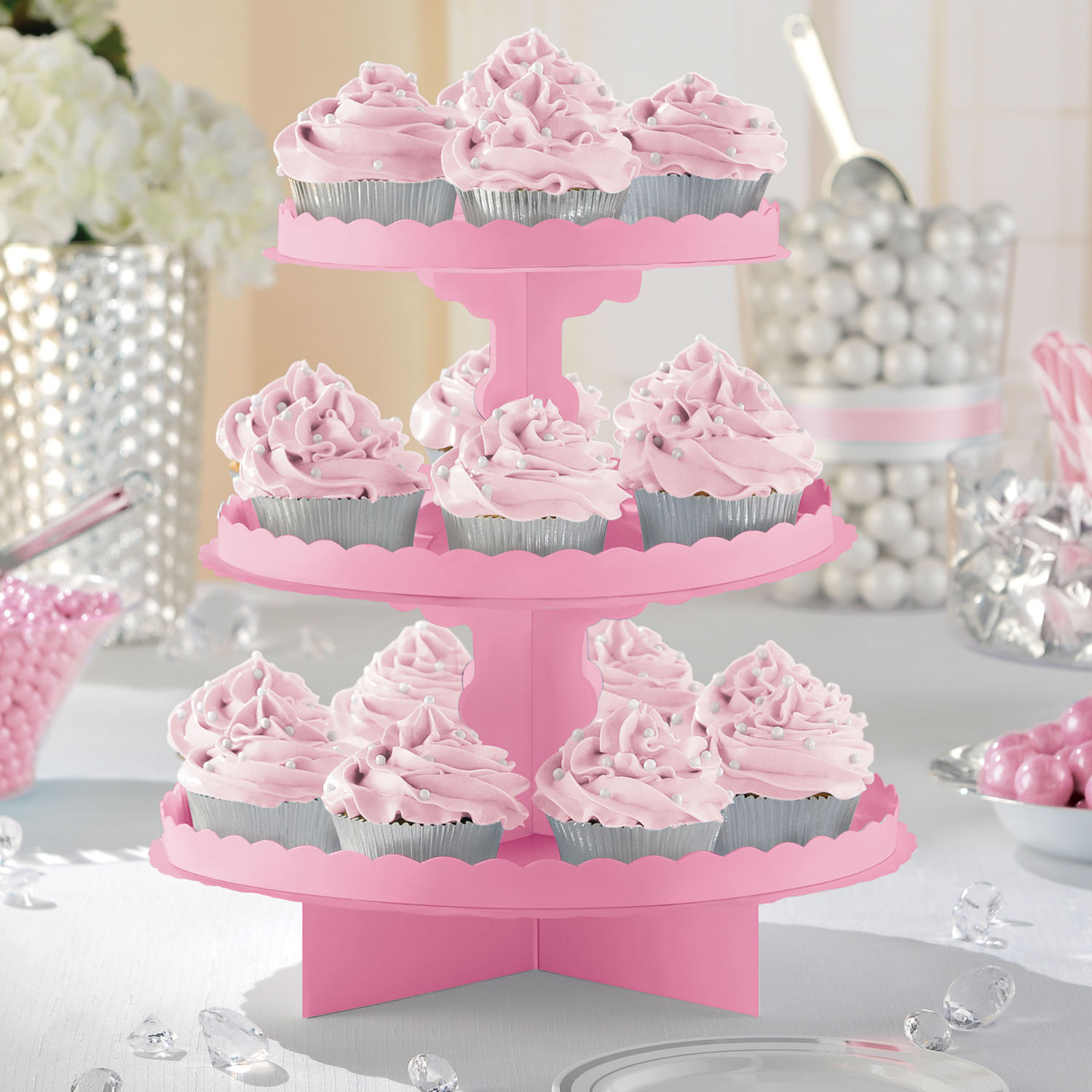 Pink Cupcake Stand Cardboard Food Serving 3 Tier Buffet Cake