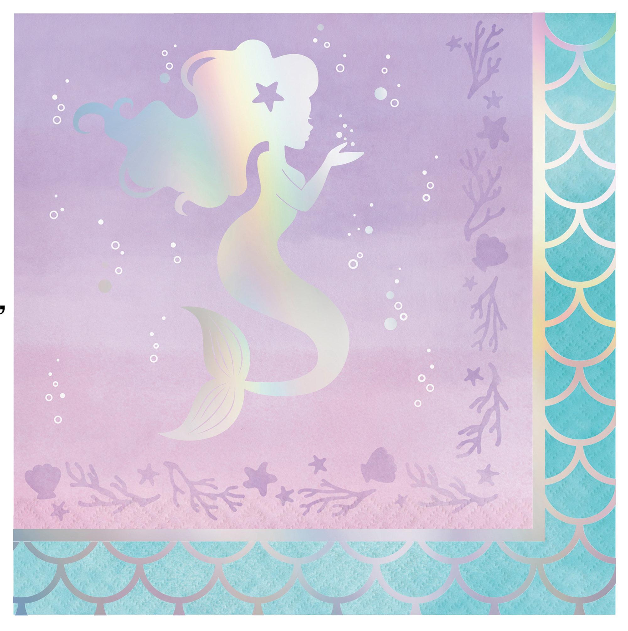 Mermaid Pastel Paper Napkins Pack of 16 Mermaid Themed Party
