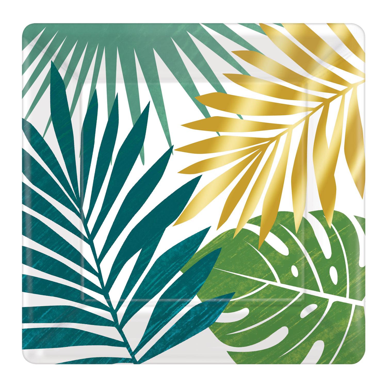 16 Hawaiian Key West Green /& Gold Palm Leaf Servilleta Tropical Luau Fiesta Vajilla