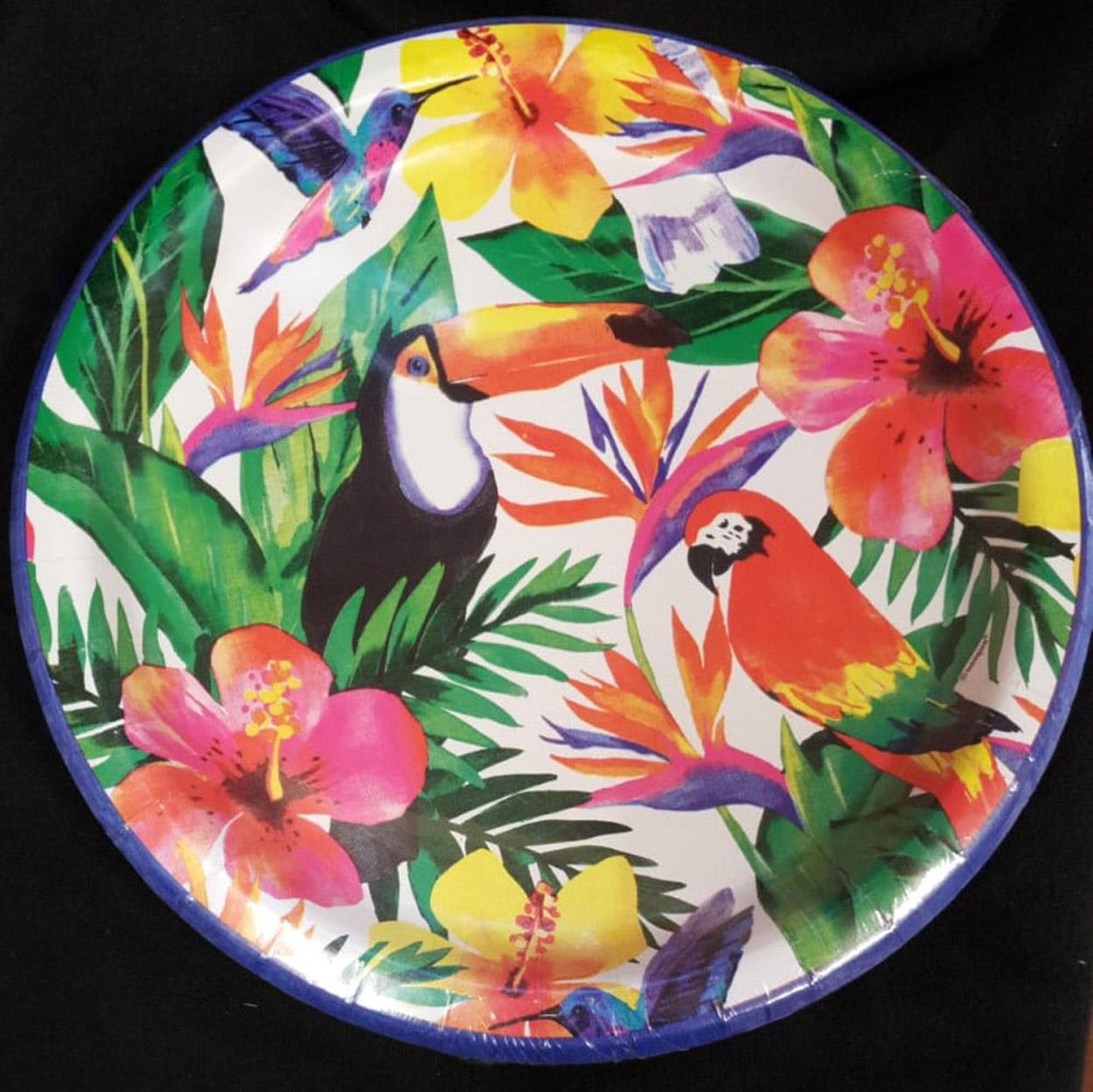fc2152749ef9 8 Tropical Birds Toucan Parrot Paper Plates Hawaiian Palm Leaf Party Plate  23cm