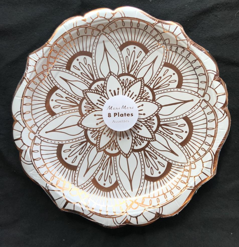 8 X De Lujo Blanco Y Rosa Oro Placas Placas De Papel Metálico Lámina de Mandala 23cm