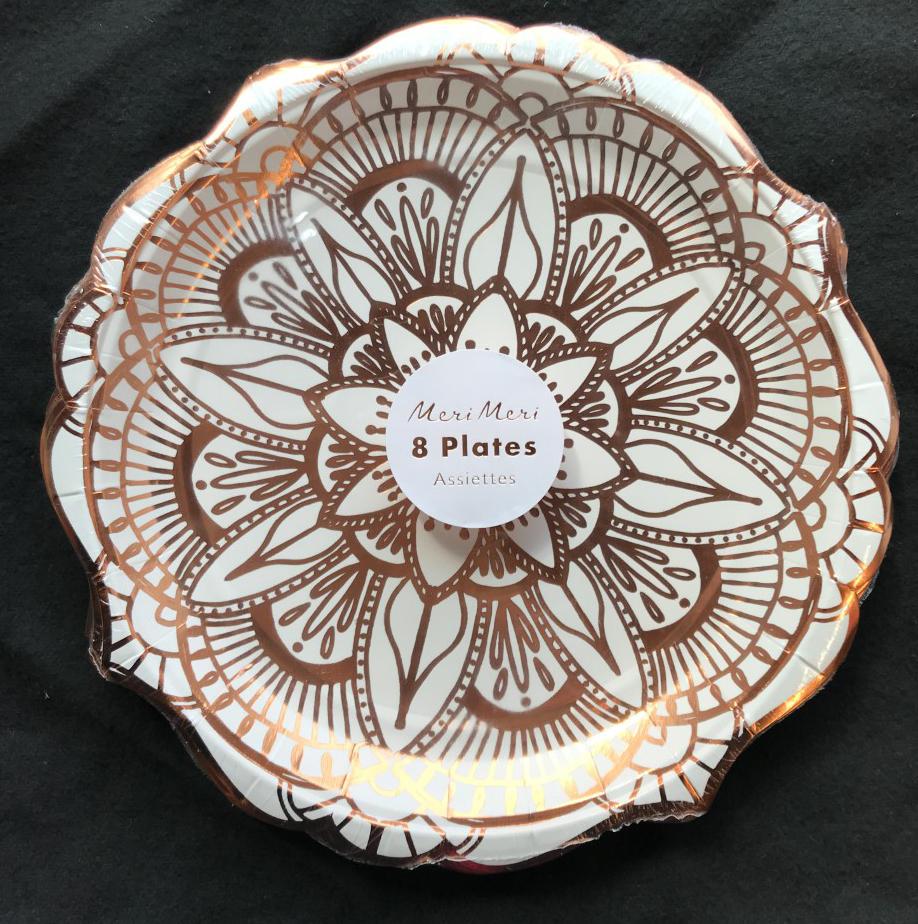 8 x Luxury Rose Gold Foil Metallic Large Plates Paper Plates Hexaganol 26cm