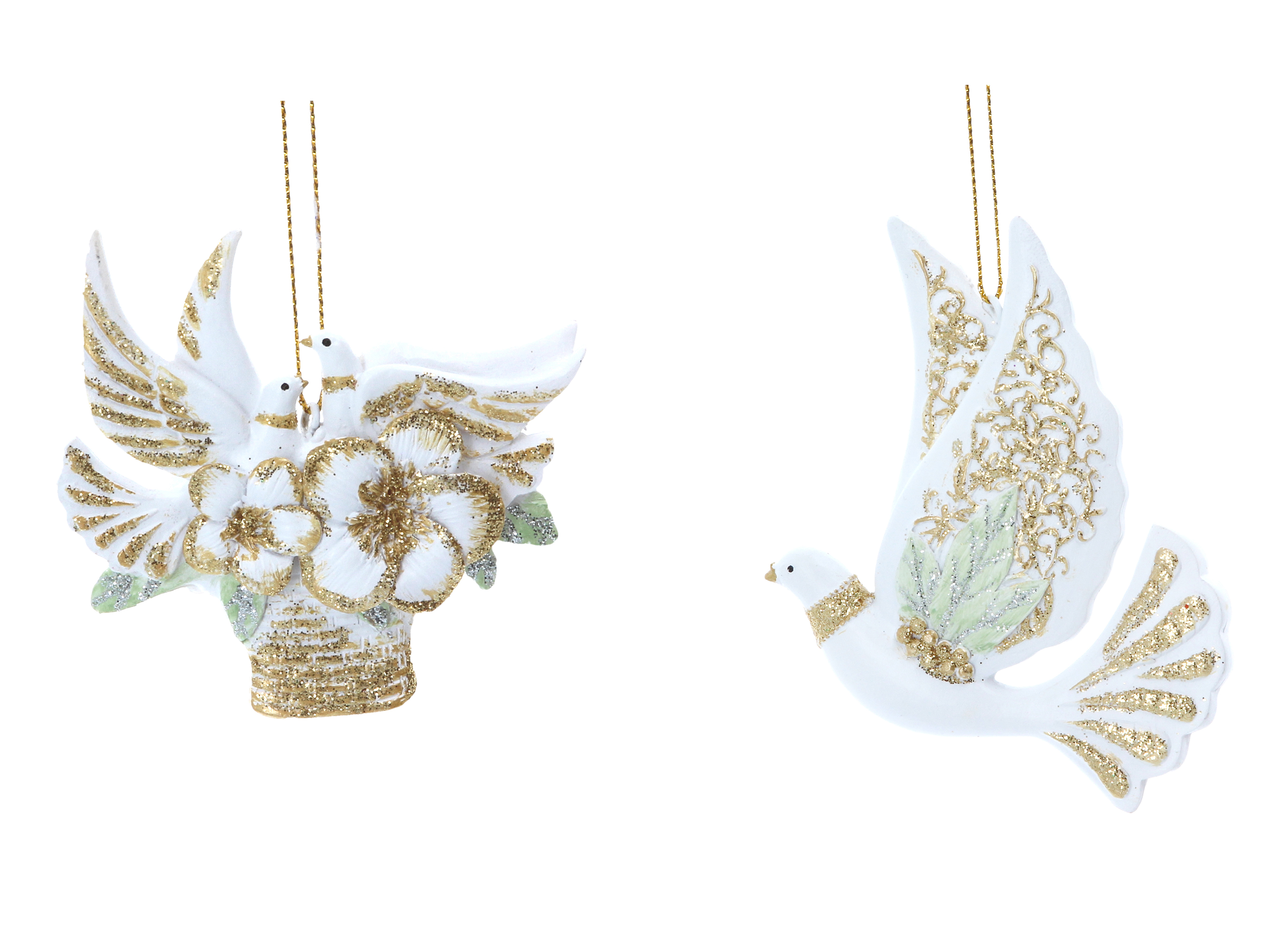 2 x Luxury Gisela Graham Dove /& Flower Hanging Decorations Christmas Baubles