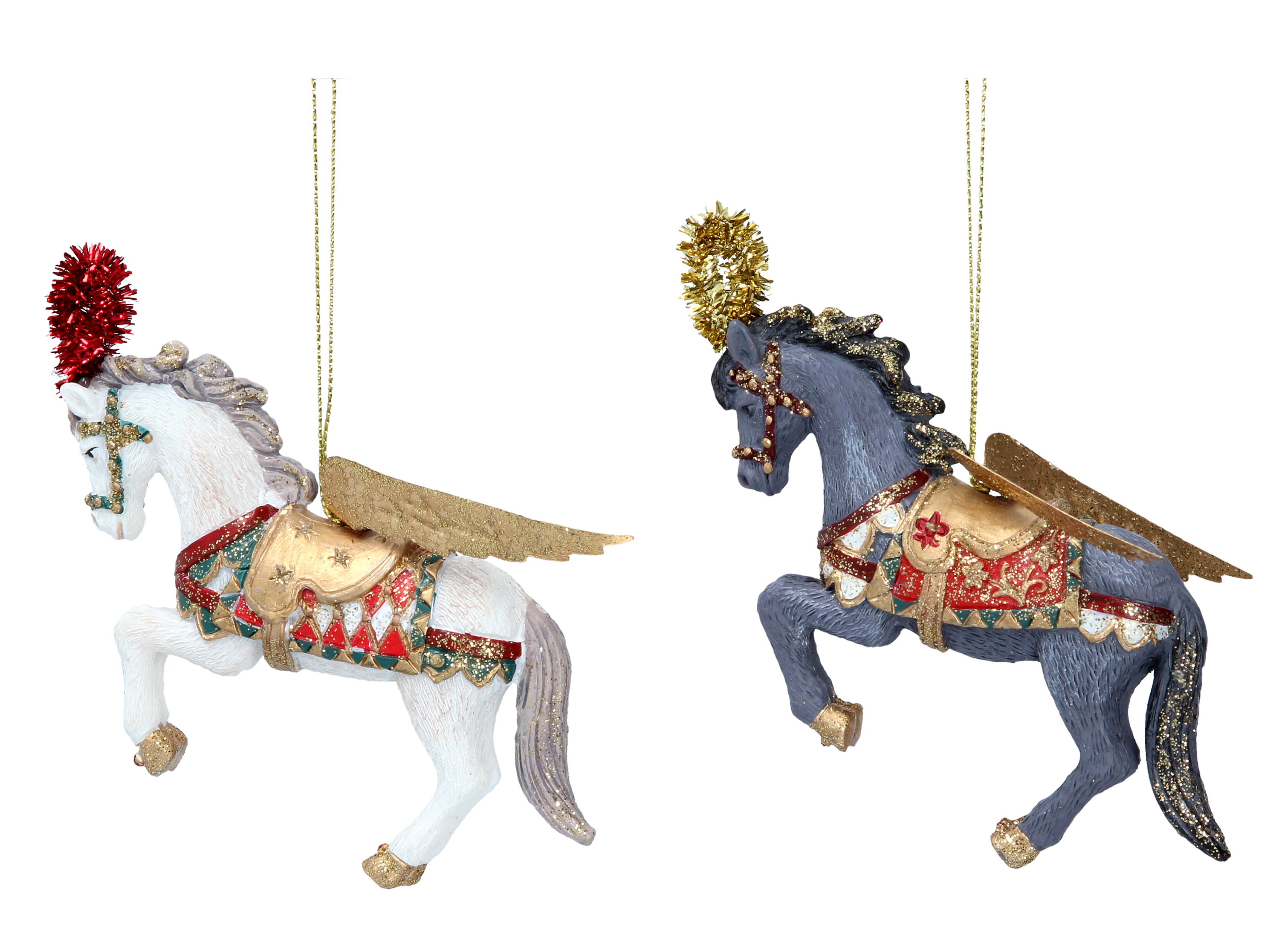 Christmas Horse Decorations.Details About 2 X Gisela Graham Assorted Venetian Horses Hanging Christmas Tree Decorations