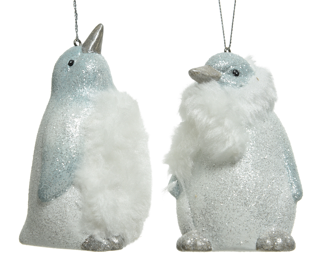 2 X Silver White Penguin Christmas Tree Hanging Decoration Christmas Baubles 8719152372867 Ebay