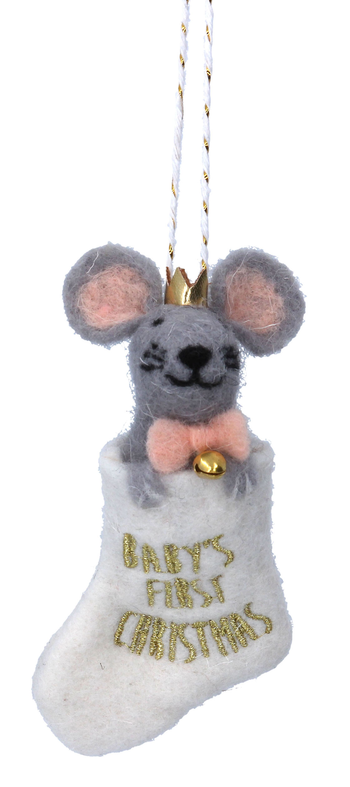 Gisela Graham Pink Baby/'s First Christmas Festive Mouse in Stocking Decoration