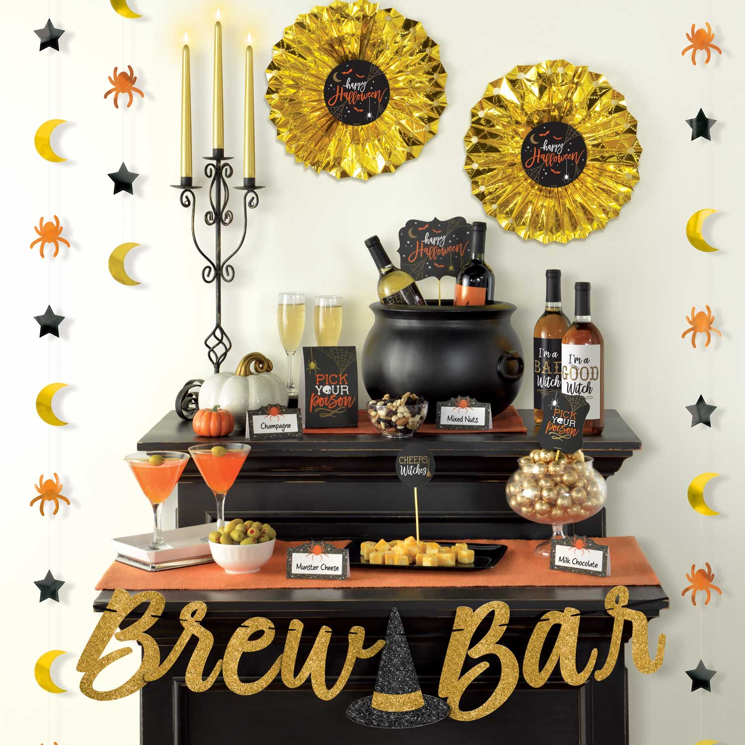23pc Halloween Party Deluxe Brew Drinks Bar Decorating Kit Banner Food Pick Card