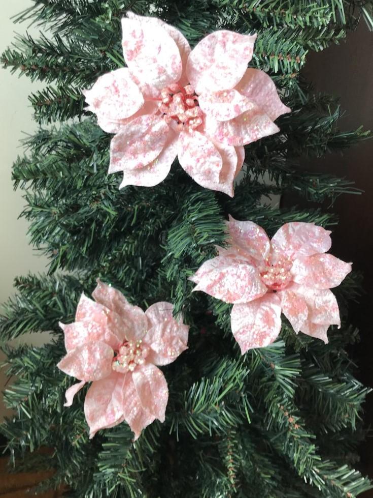 3 Glitter Pink Poinsettia Flower Christmas Tree Clip on ...