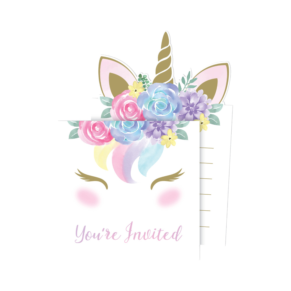 8 x Unicorn Baby Party Invitation Cards Birthday or baby Shower ...