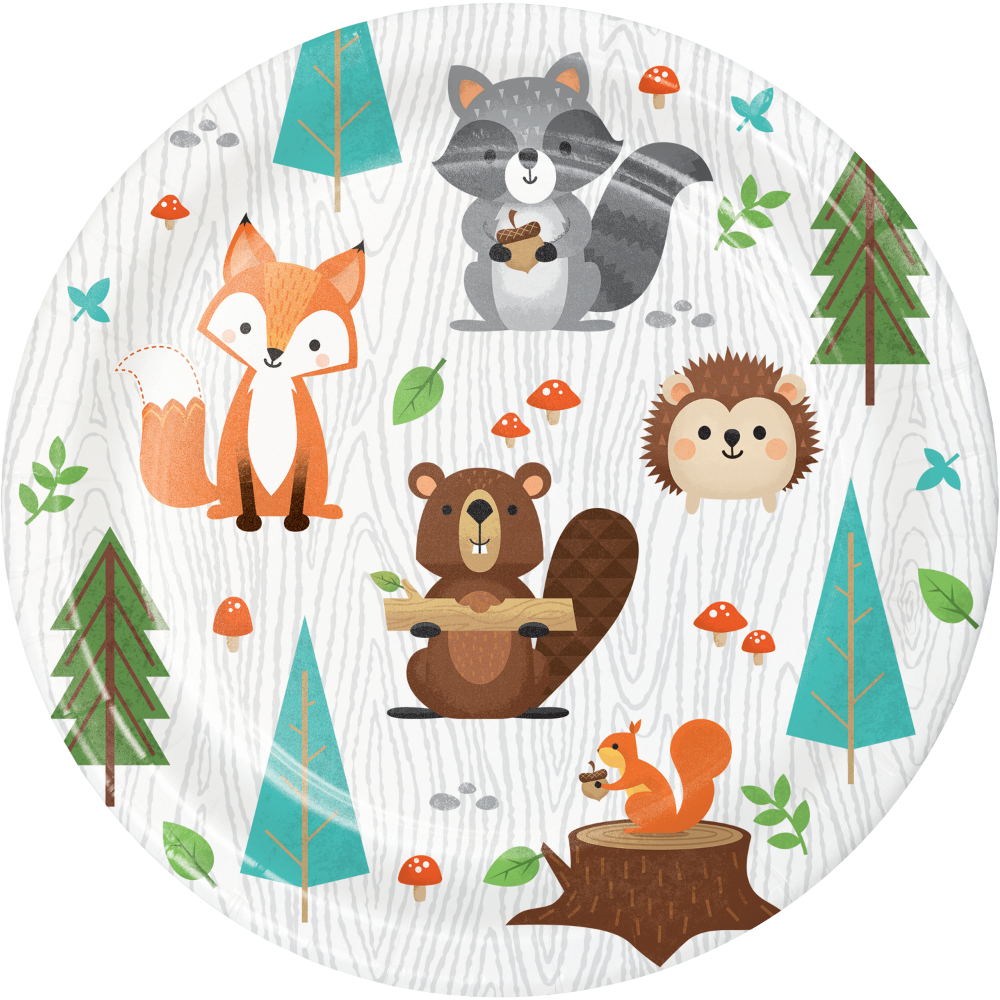 8 x Wild One Woodland Animal Party Paper Plates 18cm Forest Animal 1st  Birthday | eBay
