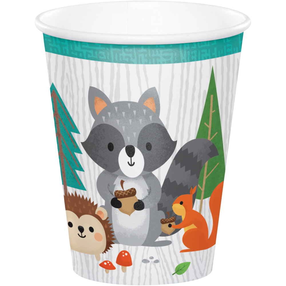 8 x Wild One Woodland Animals Party Paper Cups Forest Animal Racoon  Hedgehog | eBay