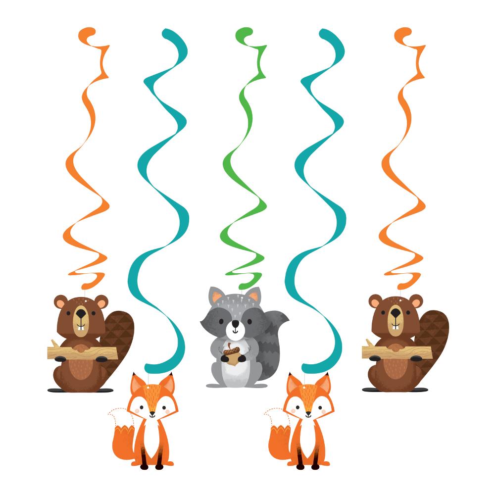 5 x Wild Woodland Forest Animal Party Hanging Swirl Decoration Fox Beaver  Racoon | eBay