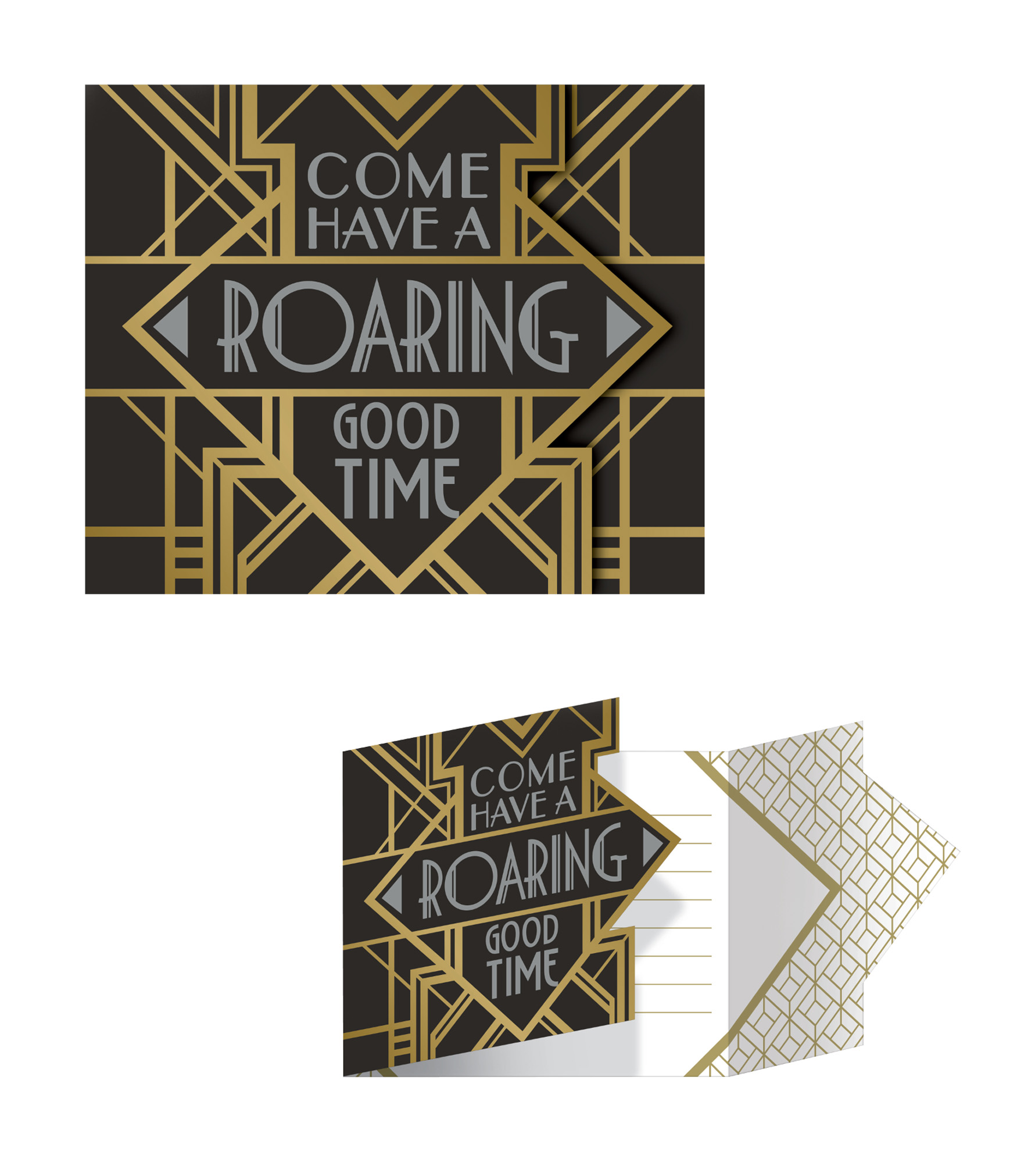 8 Have a Roaring Good Time 1920s Party Invitations Black Gold Foil ...