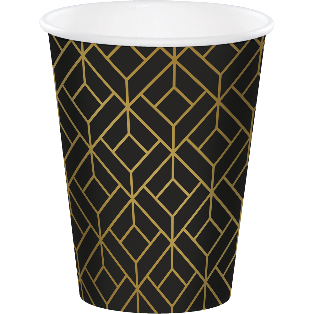 8 x Hollywood Black Gold Foil Glitz /& Glam Paper CupsRoaring 1920sBirthday