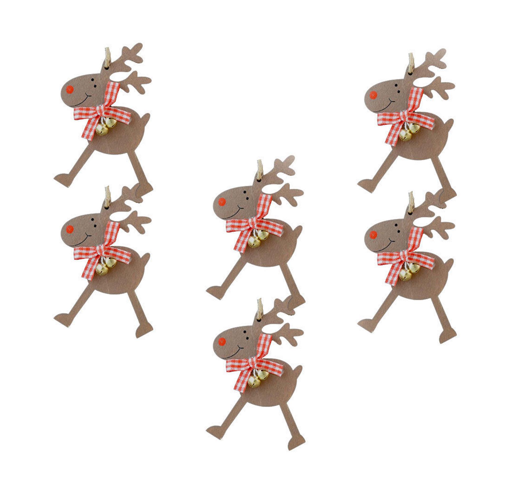 Sapin De Noel Suspendu En Bois détails sur 6 mignon en bois renne suspendu décoration sapin de noël ruban  col & cloches